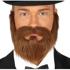 Barba con basette e baffi castani