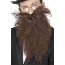 Barba e baffi lunghi castani