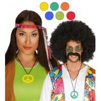 Collana da hippie con simbolo della pace arancione