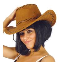 Cappello da cowboy effetto scamosciato marrone