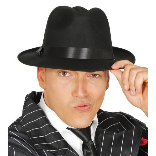 Cappello da gangster nero con fascia nera cc0b1404a50c