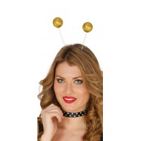 Cerchietto con palline glitter oro