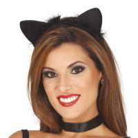 Cerchietto con orecchie da gatta e piume