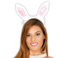 Cerchietto con orecchie da coniglietta e piume