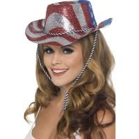 Cappello da cowboy glitter a stelle e strisce