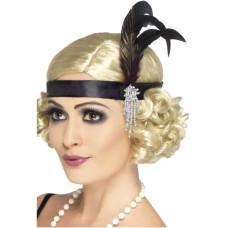 Fascia per testa con gioielli e piume