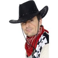 Cappello da cowboy effetto scamosciato nero