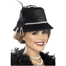 Cappello anni 20 con perle e fiore