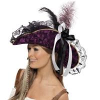 Cappello da pirata corsara con piume e fiocco