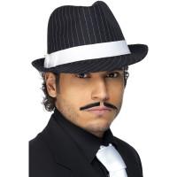 Cappello da gangster gessato con fascia bianca