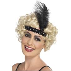 Fascia per testa con paillettes e piume nera