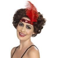 Fascia per testa con paillettes e piume rossa