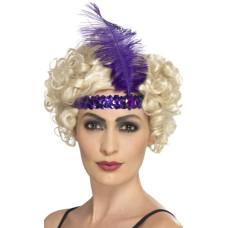 Fascia per testa con paillettes e piume viola