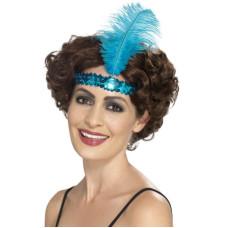 Fascia per testa con paillettes e piume azzurra