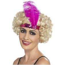 Fascia per testa con paillettes e piume pink