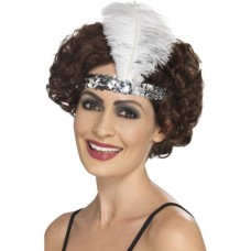 Fascia per testa con paillettes e piume argento
