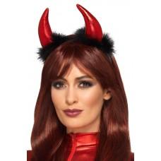 Cerchietto con corna da diavolo e piume