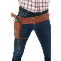 Cinturone con fondina marrone per pistola singola