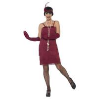 Costume charleston anni 20 con frange bordeaux