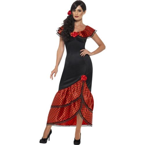 Flamenco Senorita Costume Nero Con Abito /& Testa Pezzo-Spagnola Ballerina di Fantasia