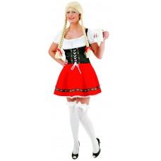 Costume da dirndl bavarese con gonna rossa