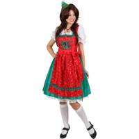 Costume da dirndl bavarese verde e rosso