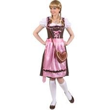 Costume da dirndl bavarese marrone a pois