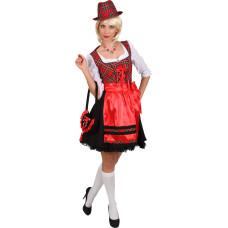 Costume da dirndl bavarese a quadretti rossi