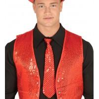 Cravatta con paillettes rossa