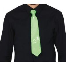 Cravatta con paillettes verde neon