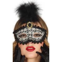 Maschera tipo veneziana con piuma nera