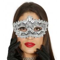 Maschera tipo veneziana con decorazione argento