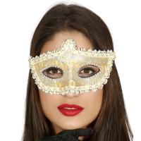 Maschera tipo veneziana con decorazione oro