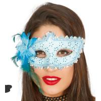 Maschera tipo veneziana con fiore azzurra
