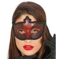 Maschera tipo veneziana con decorazione glitter rossa