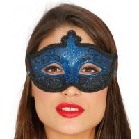 Maschera tipo veneziana con decorazione glitter blu