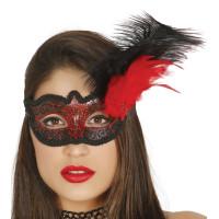 Maschera tipo veneziana con decorazione glitter e piuma rossa