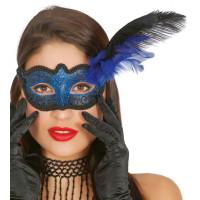 Maschera tipo veneziana con decorazione glitter e piuma blu