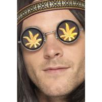 Occhiali olografici con foglia di marijuana