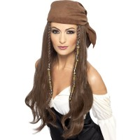 Parrucca da pirata con bandana e perline