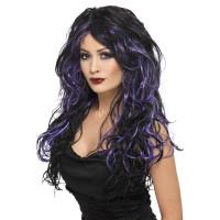 Parrucca lunga mossa nera e viola