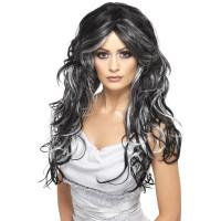 Parrucca lunga mossa nera e grigia