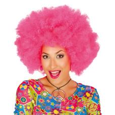 Parrucca afro pink neon