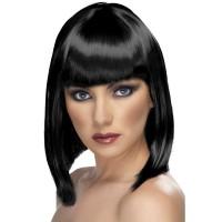 Parrucca corta con frangia nera