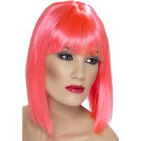 Parrucca corta con frangia pink neon
