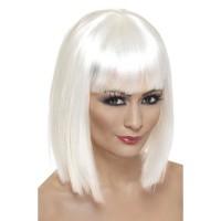 Parrucca corta con frangia bianca