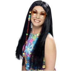 Parrucca da hippie con perline nera