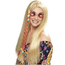 Parrucca da hippie con perline bionda