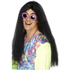 Parrucca da hippie nera