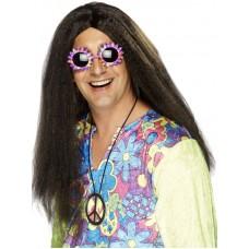 Parrucca da hippie castana